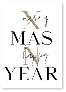 Kerstkaart Hohoho  Merry Xmas Happy N Year