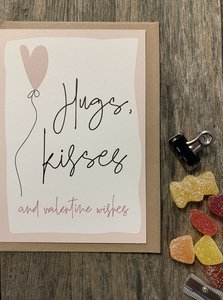 Love wenskaart Hugs & Kisses